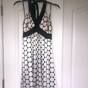 Black & White Polka Dot Halter Cocktail Dress